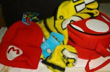 Super Mario brothers - Knit beanie cap & fleece scarf set with case - New