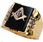 Onyx Masonic 6 stone MENS cz ring 14K yellow gold overlay size 8 T1