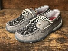 Twisted X Women's Grey Tooled Boat Shoe Driving Mocs WDM0130