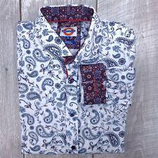 Jermyn Bond Modern Fit Button Up Long Sleeve Shirt Men Size XL White Paisley