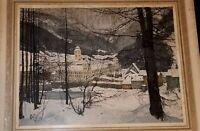 LUIGI KASIMIR ARTIST PENCIL SIGNED ETCHING OF LILIENFELD MONASTERY, AUSTRIA