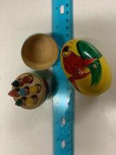 2 Vintage Hand Decorated Wood Egg Trinket Box little people inside