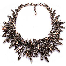 CH Fashion Vintage Branches Crystal Statement Bib Choker Necklace Pendant Women