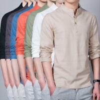 Men's T-Shirt Cotton Long sleeve Hippie Shirt V Stand collar Beach Yoga M-5XL