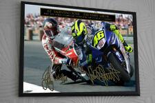 Valentino Rossi Barry Sheene Signed Treble Tribute Framed Great Gift