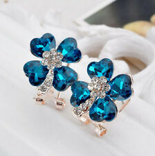 Elegant Women Crystal Rhinestone Blue Clover Ear Stud Earring Jewelry Craft Gift