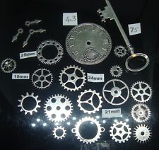 20 STEAMPUNK  METAL CHARMS SILVER  COLOUR COGS AND GEARS  (special offer)