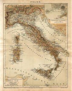 1882 ITALY CORSICA SARDINIA ROME NAPLES Antique Map