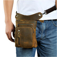Mens Genuine Leather Motorcyle Rider Waist Pack Messenger Shoulder Drop Leg Bag