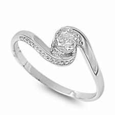 .925 Sterling Silver .50ct Simulated Diamond Size 7 Twisted Promise Ring S68