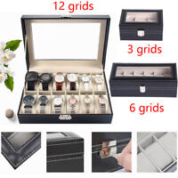 3/6/12 Leather Watch Box Case For Unisex Wrist Display Jewelry Organizer Storage