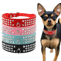 3 Rows Bling Diamond Suede Leather Dog Collars Rhinestone XS S M L Poodle Pug