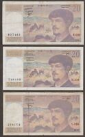 France 20 Francs - Pick # 151 - 1983 1987 1997  - Lot of 3 Different Year