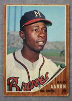 Hank Aaron  HOF  MVP   Atlanta Braves  1962 Topps Baseball  Card  #320
