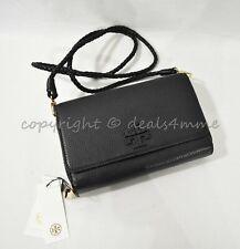 NWT Tory Burch Taylor Flat Leather Wallet/Clutch/Shoulder/Crossbody Bag in Black