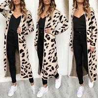 UK Women Leopard Print Knee Length Jumper Cardigans Knitted Sweater Cape Outwear