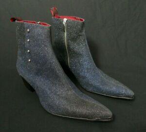 JEFFERY-WEST 'MUSE' Blue VEGAN leather SYLVIAN Skull Stud Zip Boot UK 8