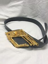 Cool Vtg Modernist Brutalist Gold Tone Fish Buckle Light Blue Leather Belt