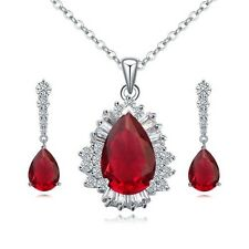 18K WHITE GOLD PLATED CZ & AUSTRIAN CRYSTAL RUBY RED NECKLACE & EARRING SET