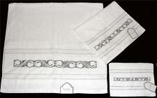 3 KASSAFINA Embroidered Silver Scroll White Towel Set Bath Hand Fingertip NWT