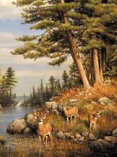 """ Hautman  Brothers  ""  "" Deer & Pines "" 1026 piece 27"" x 20""  INCLUDED POSTER"