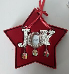 """Tipperary Crystal Sparkle """"Joy"""" Photo Frame Christmas Ornament With Gifts 108905"""