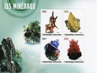 Gabon Minerals Stamps 2019 MNH Zincite Sulfur Flourine Crocoite 4v M/S
