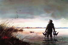 """THREE DOWN"" Beautiful Duck Hunting Print S/N By Les Kouba"