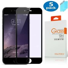 5X Nacodex For iPhone 8 Plus Full Cover Tempered Glass Screen Protector -Black