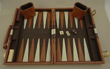 "BACKGAMMON GAME IN BROWN/WHITE VINYL CASE ~ 18"" Across Diagonal ~Latches on Case"