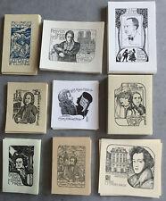 9 Exlibris E. Strobel-Matza Bach Mozart Beethoven Schubert Music Composer Author