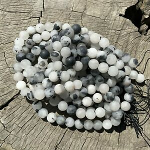 """8mm Natural Frosted Tourmaline Rutilated Clear Quartz 15"""" Strand 47 Round Beads"""