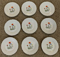 Set of 6 Lourioux porcelain France Wine & Cheese Canape Plates P. Deshoulieres