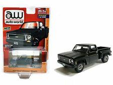1973 CHEVROLET CHEYENNE STEPSIDE PICKUP MATT BLACK 1/64 DIECAST AUTOWORLD CP7616
