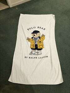 "Vintage 90s Polo Sport Ralph Lauren Polo Bear Beach Towel XL  53""x 36"""