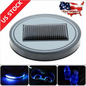 2X Solar Energy Cup Holder Bottom Pad LED Light Cover Mouldings Trim For Car