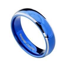 6mm Blue Tungsten Carbide Women's Wedding Band Ring White Edge