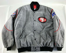 San Francisco 49ers Starter Snap Bomber Jacket Gray Marble Red Vintage  - Size L