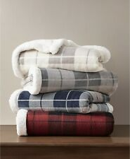 "Martha Stewart Collection 60"" x 50"" Throw Plaid Reversible Sherpa Beige E08134"