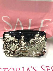 Victoria's Secret Bling Flip Sequin Cosmetic Makeup Clutch Bag Gold Black