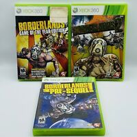 BORDERLANDS 1, 2 & Pre-Sequel Lot of 3 Games XBOX 360 COMPLETE Manuals Inserts