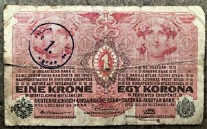 1916 WWI AUSTRIA HUNGARY 8 LANGUAGE KRONE NOTE OVERPRINTED for ZAGREB DIRECTORAT