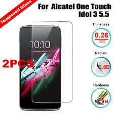 """2Pc 9H Premium Tempered Glass Screen Protector For Alcatel One Touch Idol 3 5.5"""""""