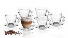 6 Espresso-Tassen 85ml mit 6 Untertellern 12-tlg Set Espressogläser Kaffeegläser