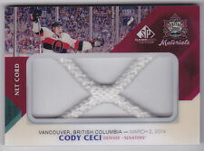 14-15 SP Game Used Cody Ceci /35 Net Cord Heritage Classic  Materials 2014