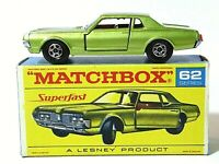 Matchbox Lesney No.62c Mercury Cougar RARE F1 AUTOSTEER RED SUPERFAST SCRIPT BOX