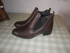 Tamaris Brown Leather Chelsea Style Ankle Boots Size 38