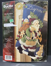 "New listing Woodland Santa - Bucilla Plaid 18"" Felt Christmas Stocking Kit 85179 New in Pkg"