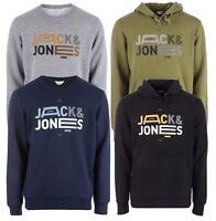 JACK & JONES Mens Overhead Hoodie & Crew Neck Print Cotton Sweatshirt Top