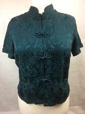 Monsoon Oriental embellished blouse Top Size 14 dark green 100% silk ladies